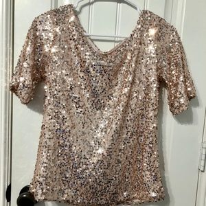 Women's Sparkly gold / rose gold shirt